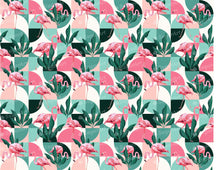 Load image into Gallery viewer, Flamingo Geometrical Exotic Pattern - Icing - ISA074-Icing/Frosting Paper-Sugar Art