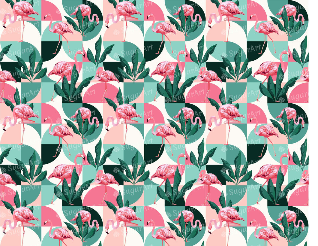 Flamingo Geometrical Exotic Pattern - Icing - ISA074-Icing/Frosting Paper-Sugar Art