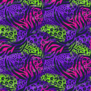 Abstract Purple Pink Green Pattern with Animal Prints - Icing - ISA079-Icing/Frosting Paper-Sugar Art