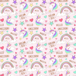 Doodle Rainbow Unicorn Magical Pattern - Icing - ISA082-Icing/Frosting Paper-Sugar Art
