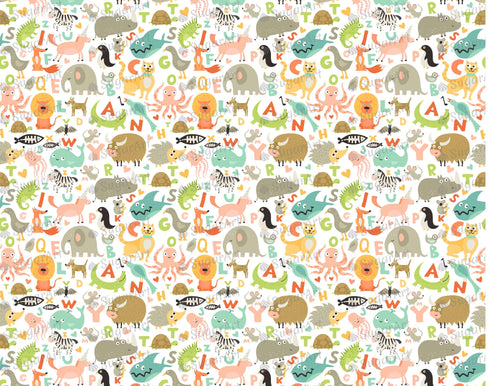 Children Alphabet Animals Pattern - Icing - ISA083-Icing/Frosting Paper-Sugar Art