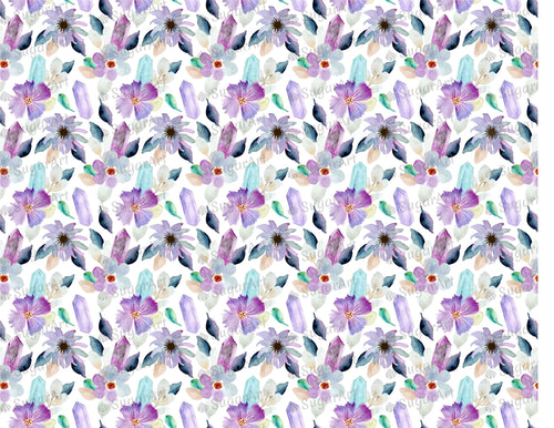 Floral Crystal Watercolor Pattern - Icing - ISA087-Icing/Frosting Paper-Sugar Art