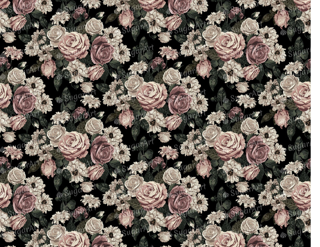 Elegant Blush Toned Rustic Flowers - Icing - ISA089-Icing/Frosting Paper-Sugar Art