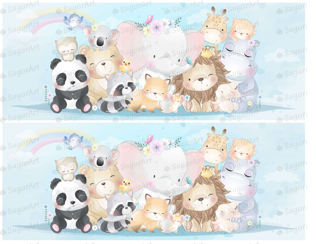 Cute Animals With Watercolor Effect - Icing - ISA094-Icing/Frosting Paper-Sugar Art