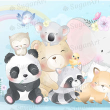 Load image into Gallery viewer, Cute Animals With Watercolor Effect - Icing - ISA094-Icing/Frosting Paper-Sugar Art