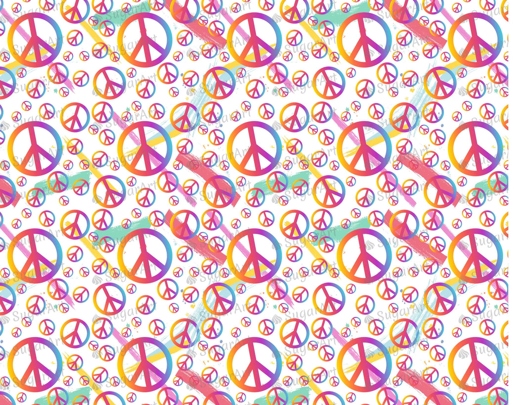 Colorful Peace Symbols Background - Icing - ISA097-Icing/Frosting Paper-Sugar Art