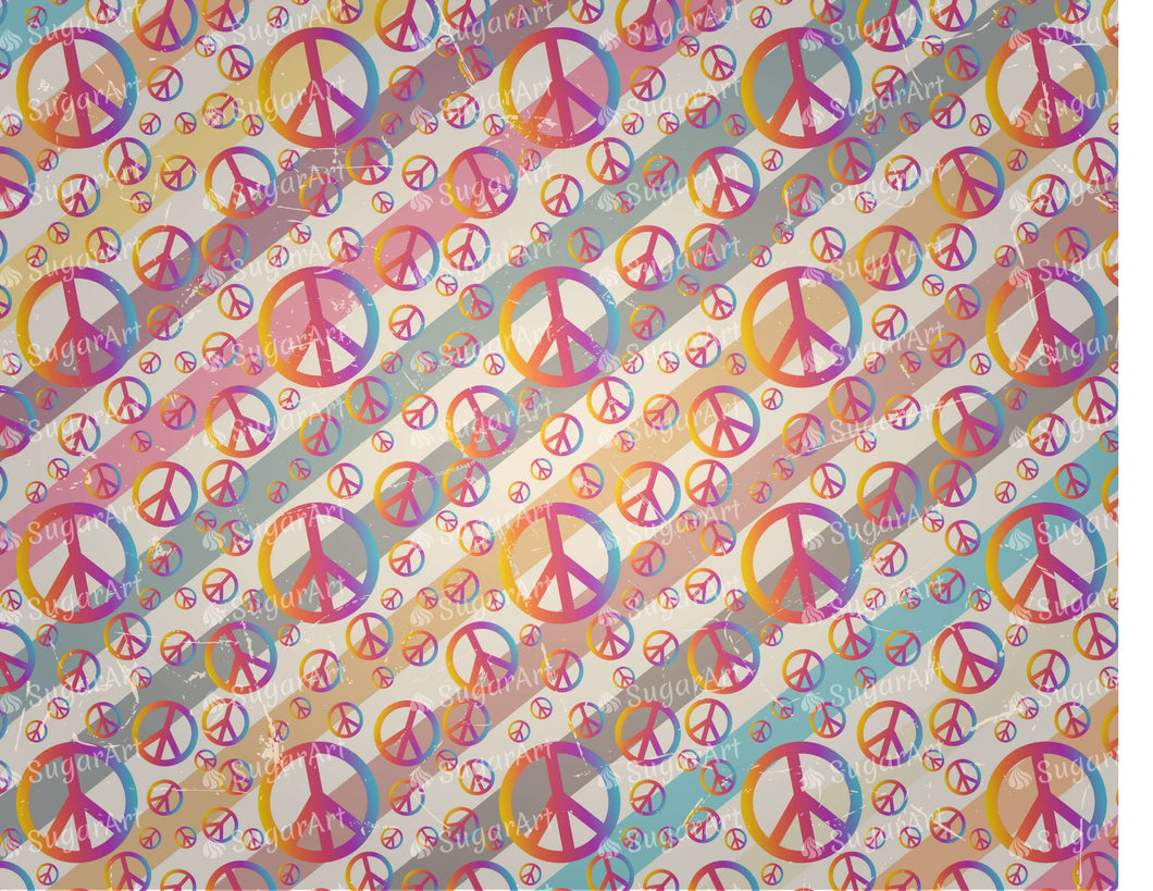 Retro Stripe Peace Symbols Background - Icing - ISA098-Icing/Frosting Paper-Sugar Art