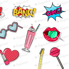 Load image into Gallery viewer, Pop Art Girl and Cartoon Stickers Sugar Art