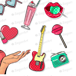 Pop Art Girl and Cartoon Stickers Sugar Art