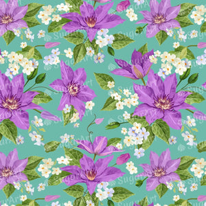 Purple Clematis Flowers Pattern Sugar Art