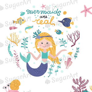 Set Of Cute Mermaids Seaweeds And Marine Inhabitants Sugar Art
