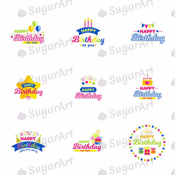 Happy Birthday - SA17-Sugar Stamp sheets-Sugar Art