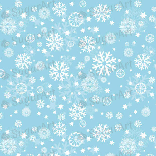 Winter, White snowflakes on blue background - SA30-Sugar Stamp sheets-Sugar Art