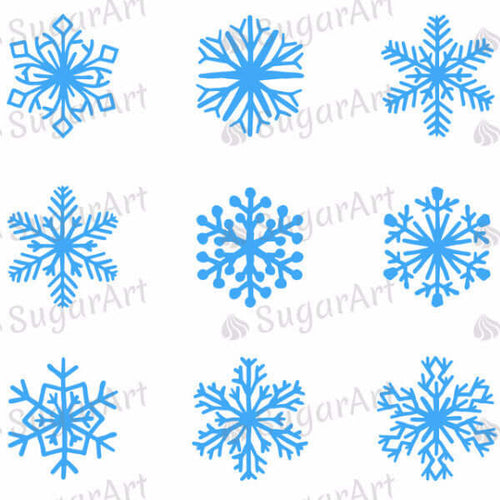 Christmas, Blue Snowflakes - SA31-Sugar Stamp sheets-Sugar Art