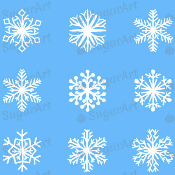 Christmas, White Snowflakes - SA32-Sugar Stamp sheets-Sugar Art