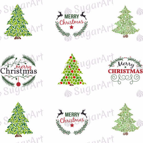 Merry Christmas, Xmas Trees - SA33-Sugar Stamp sheets-Sugar Art