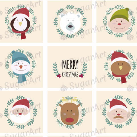 Funny Christmas Characters - SA34-Sugar Stamp sheets-Sugar Art