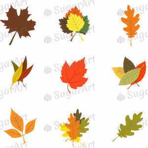 Leaves of Autumn Colors - SA45-Sugar Stamp sheets-Sugar Art