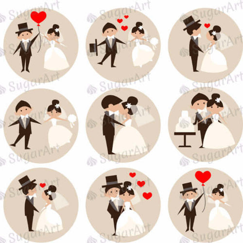 Wedding Couples - 1.5 inch - SA51-Sugar Stamp sheets-Sugar Art