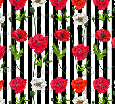 Red Poppy Flowers Pattern Striped- Icing - ISA016