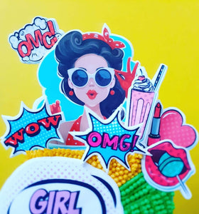 Pop Art Girl and Cartoon Stickers - Icing - ISA099