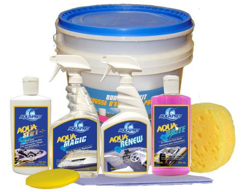 Aqua-Pro Professional (8341) COMPLETE BOAT CARE KIT- Wash, Wax, Shine and Protect