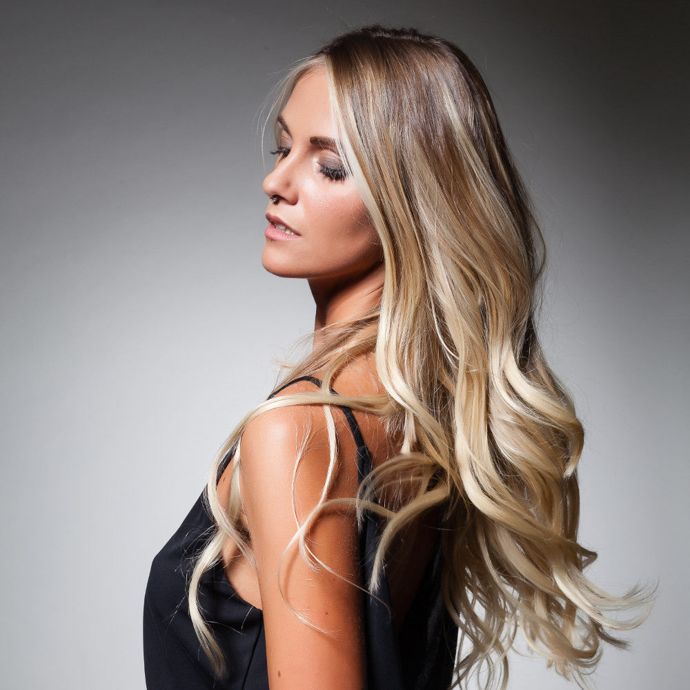 Vanessa wearing Rooted color #5RTD101 and Ombre color #7SH101 tape-in hair extensions