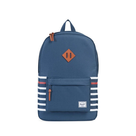 HERSCHEL Heritage BackPack Navy Offset Stripe/Black Veggie Tan Leather - Sneakerhelden