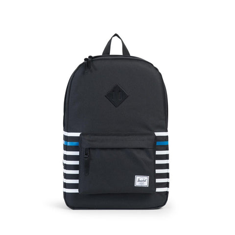 HERSCHEL Heritage BackPack Black Offset Stripe/Black Veggie Tan Leather - Sneakerhelden