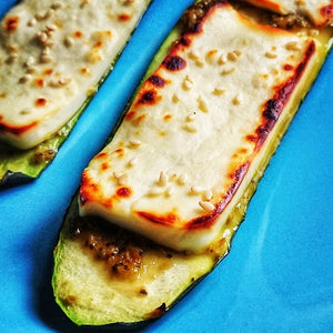 Grilled courgettes with sambal hijau, halloumi & sesame seeds