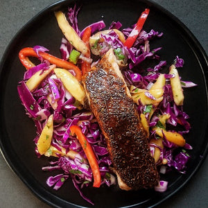 Jerk & Honey Salmon with Mango & Red Pepper Slaw