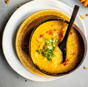 Roast Parsnip Soup with Turmeric & Ginger Infusion