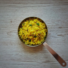 poha rice with turmeric and ginger