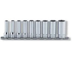 Koken 9 Piece Socket Set: 1/4in Sq. Dr. 12 Point Deep Socket Set on Rail (P/N RS2305A/9)