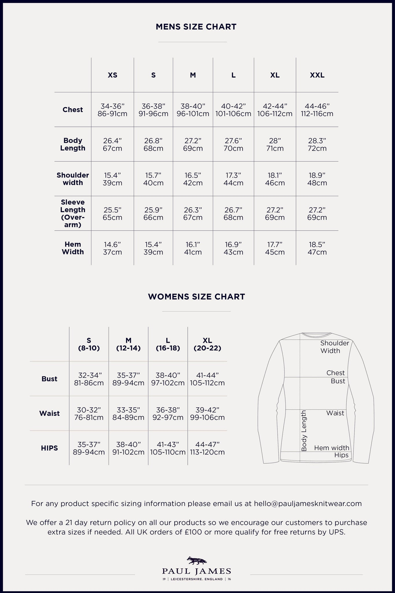knitwear size chart Paul James