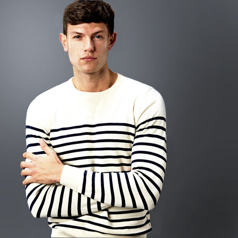 Mens 100% Cotton Breton Jumper In Ecru