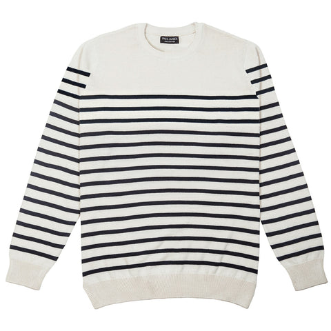 mens ecru and navy breton stripe jumper