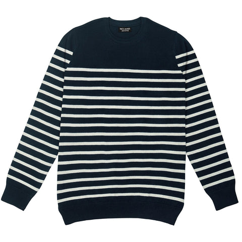 mens navy and ecru breton stripe jumper