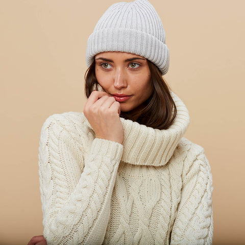 Womens chunky cowl neck jumper and merino beanie hat
