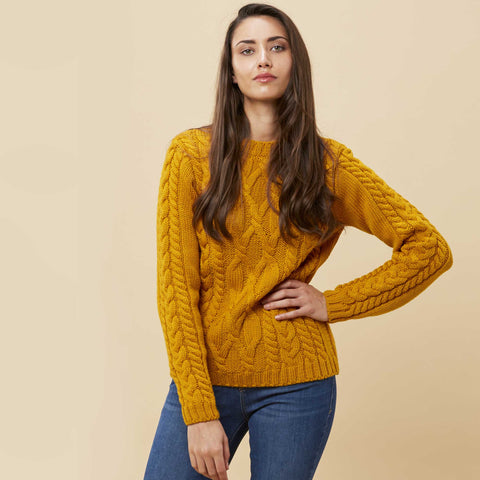 womens merino chunky crew neck jumper