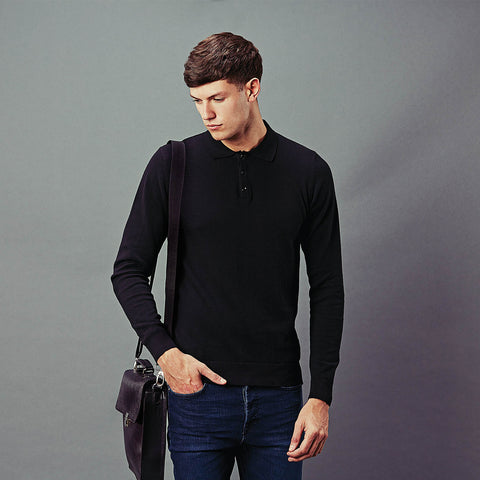 mens black long sleeve cotton polo shirt