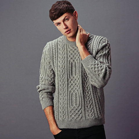 Mens Aran wool fishermans style jumper