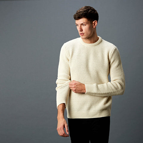 Mens merino moss stitch fishermans style jumper