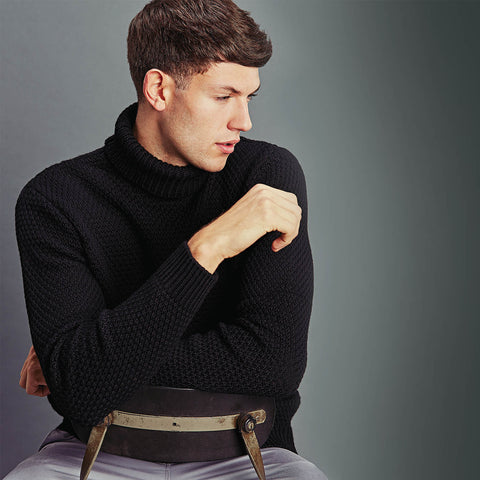 Mens moss stitch roll neck jumper