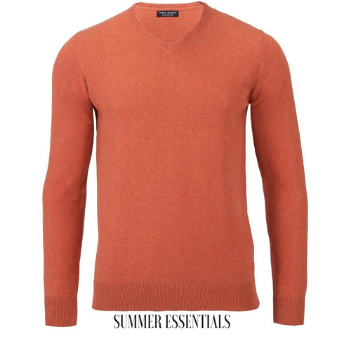 v neck sweater mens cotton orange