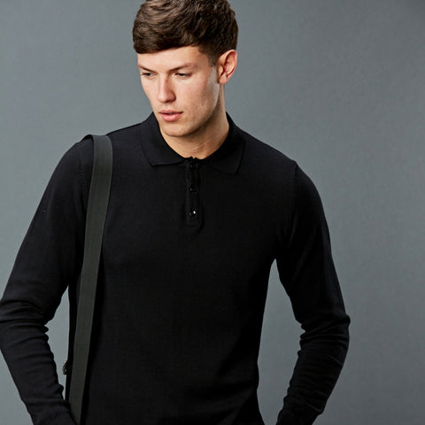 Men's long sleeved cotton polo neck shirt
