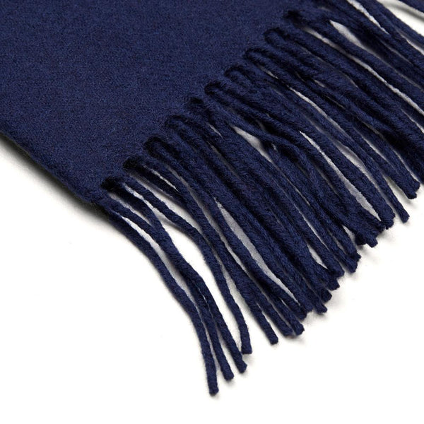 navy lambswool scarf close up