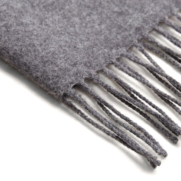grey lambswool scarf close up