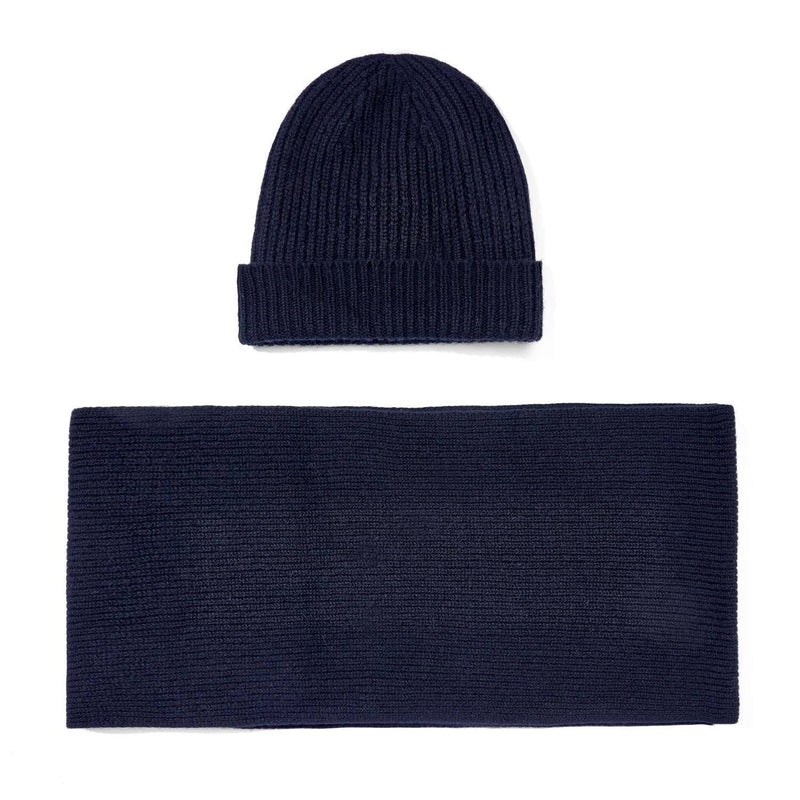 black knitted cashmere ribbed beanie and scarf gift set