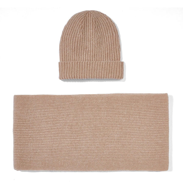 camel knitted cashmere ribbed beanie and scarf gift set